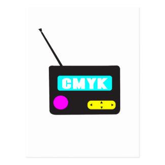 CMYK portable retro radio Postcard