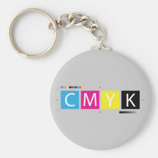 CMYK Pre-Press Colors Basic Round Button Keychain