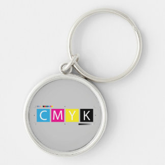 CMYK Pre-Press Colors Silver-Colored Round Keychain