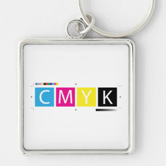 CMYK Pre-Press Colors Silver-Colored Square Keychain