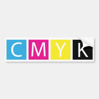 CMYK preprensan colores Etiqueta De Parachoque