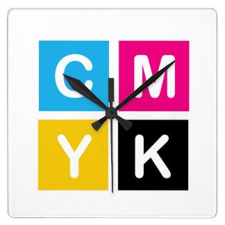 CMYK SQUARE WALL CLOCK