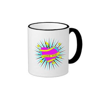 CMYK te amo estalló diseño del corazón Taza De Café