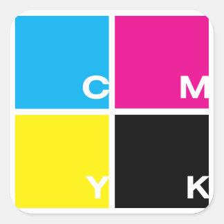 CMYK: The essential four Square Sticker