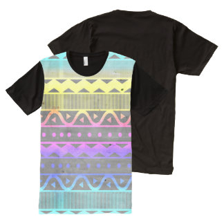 CMYK Tribal Pattern All-Over-Print T-Shirt