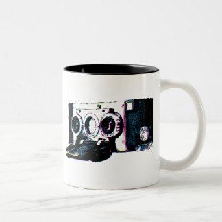 CMYK Vintage Camera Picture Pop Art Two-Tone Coffee Mug