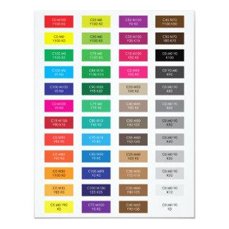 """CMYK y muestras del color del código del maleficio Invitación 4.25"""" X 5.5"""""""