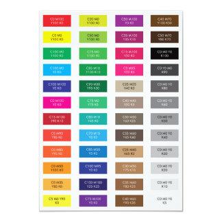 """CMYK y muestras del color del código del maleficio Invitación 5"""" X 7"""""""