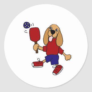 CN- Cocker Spaniel Playing Pickleball Cartoon Round Sticker