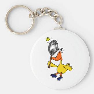 CN- Funny Duck Playing Tennis Basic Round Button Keychain