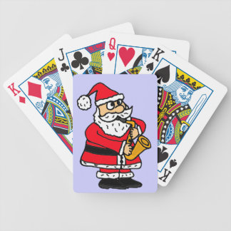 CN- Funny Santa Claus Playing the Saxophone Bicycle Playing Cards