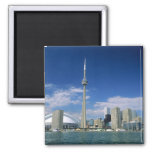 CN Tower and Skydome in Toronto, Ontario, 2 Inch Square Magnet