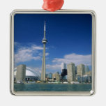 CN Tower and Skydome in Toronto, Ontario, Square Metal Christmas Ornament