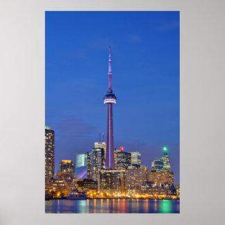 CN Tower Illuminated at Night in Toronto Canada Poster