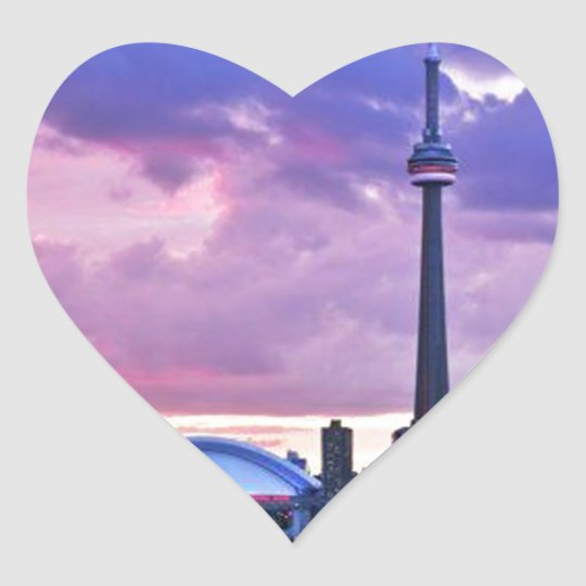 CN Tower : View from Center Island Toronto Heart Sticker