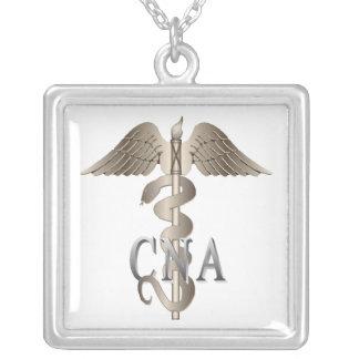 CNA Caduceus Silver Plated Necklace