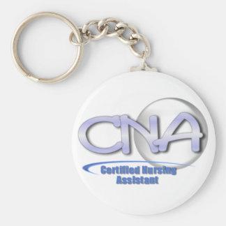 CNA FUN BLUE - CERTIFIED NURSING ASSISTANT BASIC ROUND BUTTON KEYCHAIN