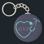 "CNA Stethoscope Key Chain<br><div class=""desc"">Have this custom monogrammed key chain to show your love for your profession</div>"
