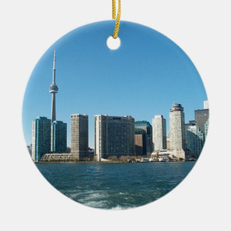 CNTower CN+Tower Toronto lake Ontario Landmark fun Ceramic Ornament
