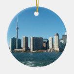 CNTower CN+Tower Toronto lake Ontario Landmark fun Double-Sided Ceramic Round Christmas Ornament