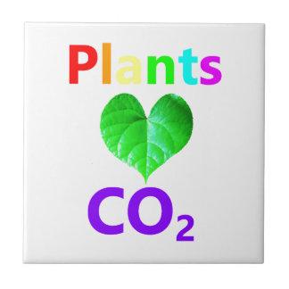 CO2 del amor de las plantas Azulejo Cuadrado Pequeño