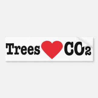 CO2 del amor de los árboles Etiqueta De Parachoque