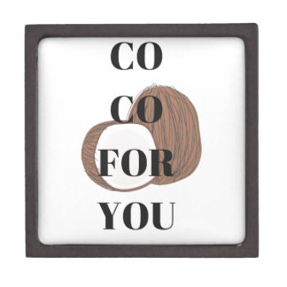Co Co Coconut Text Illustration Design Jewelry Box