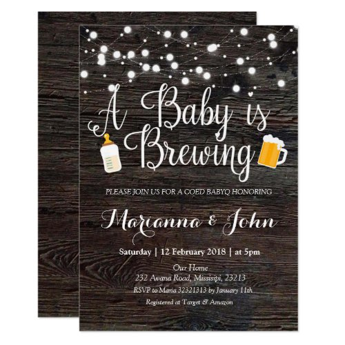 Co Ed Baby is brewing shower invitation