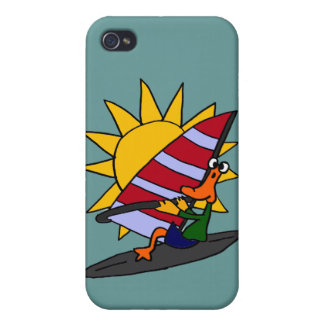 CO- Funny Duck Windsurfing Cartoon iPhone 4/4S Cover