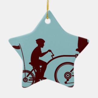 Co-pilot bicycle vector ceramic ornament
