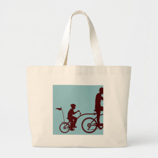 Co-pilot bicycle vector large tote bag