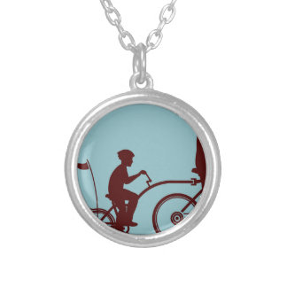 Co-pilot bicycle vector silver plated necklace