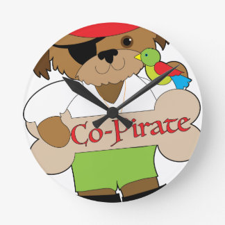 Co-Pirate Dog Round Clock