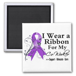 Co-Worker Purple Ribbon - Pancreatic Cancer 2 Inch Square Magnet