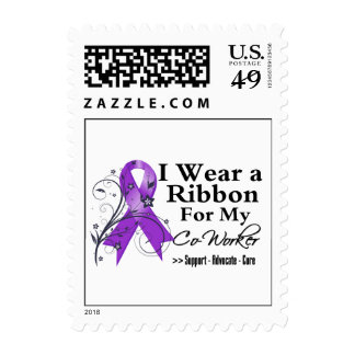 Co-Worker Purple Ribbon - Pancreatic Cancer Stamp