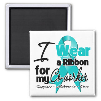 Co-Worker - Teal Awareness Ribbon 2 Inch Square Magnet