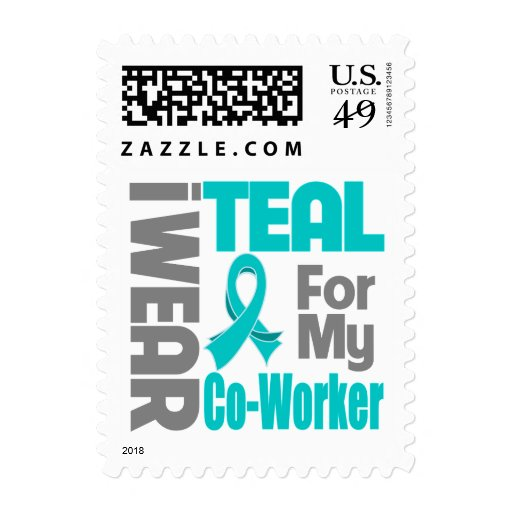 Co-Worker - Teal Ribbon Ovarian Cancer Support Postage Stamp