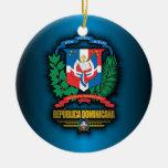 COA de la República Dominicana Adorno Navideño Redondo De Cerámica