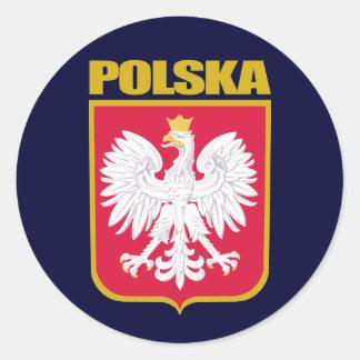 COA de Polska (Polonia) Pegatina Redonda
