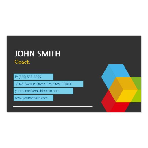 Coach - Abstract Cube Logo Business Card