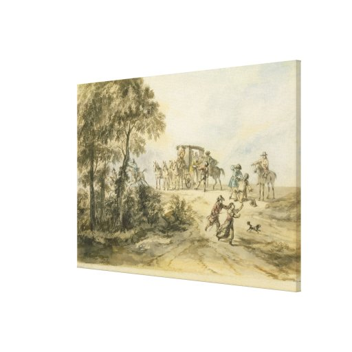 Coach and Highwayman (w/c on paper) Canvas Print
