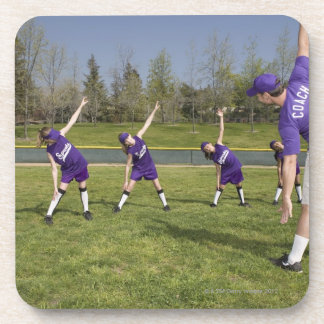 Coach and little league players stretching drink coaster