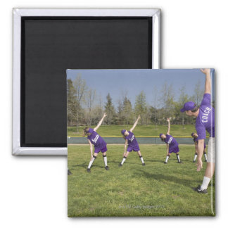Coach and little league players stretching refrigerator magnets