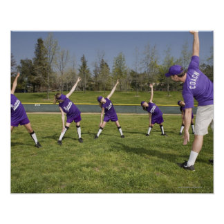 Coach and little league players stretching poster