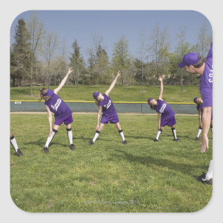 Coach and little league players stretching square sticker