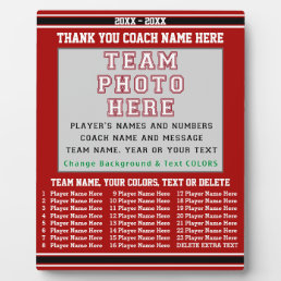 Coach Appreciation Gifts YOUR Photo, Text, Colors Plaque
