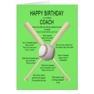 Coach, birthday baseball jokes card