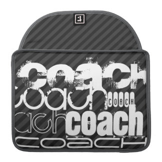 Coach; Black & Dark Gray Stripes Sleeve For MacBook Pro