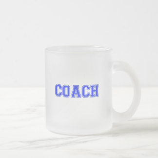 Coach Blue Font Frosted Glass Coffee Mug