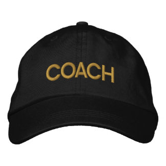 Coach Embroidered Baseball Hat - Black and Gold Embroidered Baseball Cap